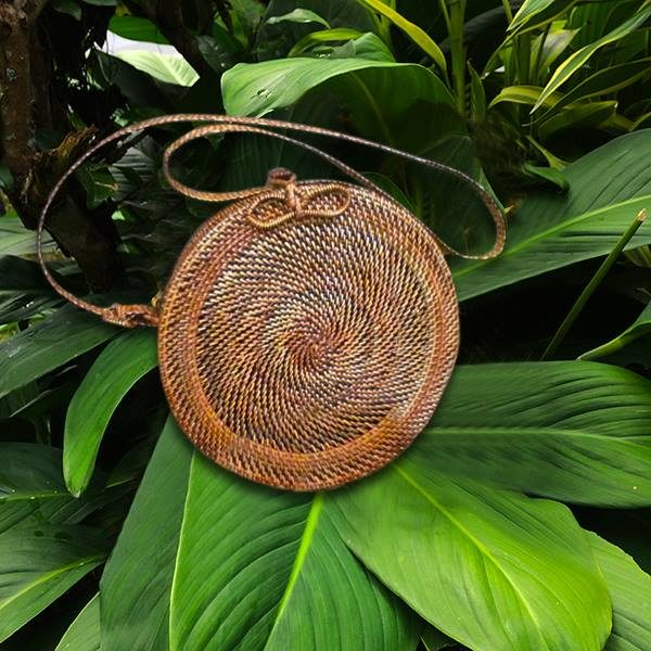 Round Wicker Abaca Bag