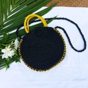 Brione Round Bag with Yellow Accent