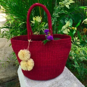 Primera Abaca Shoulder Bag in Fierce Red with Pompoms