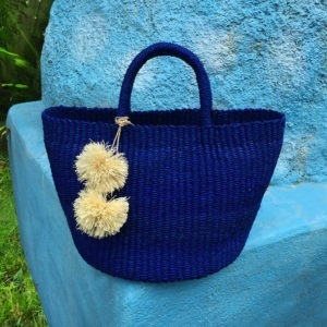Primera Abaca Shoulder Bag in Royal Blue with Pompoms